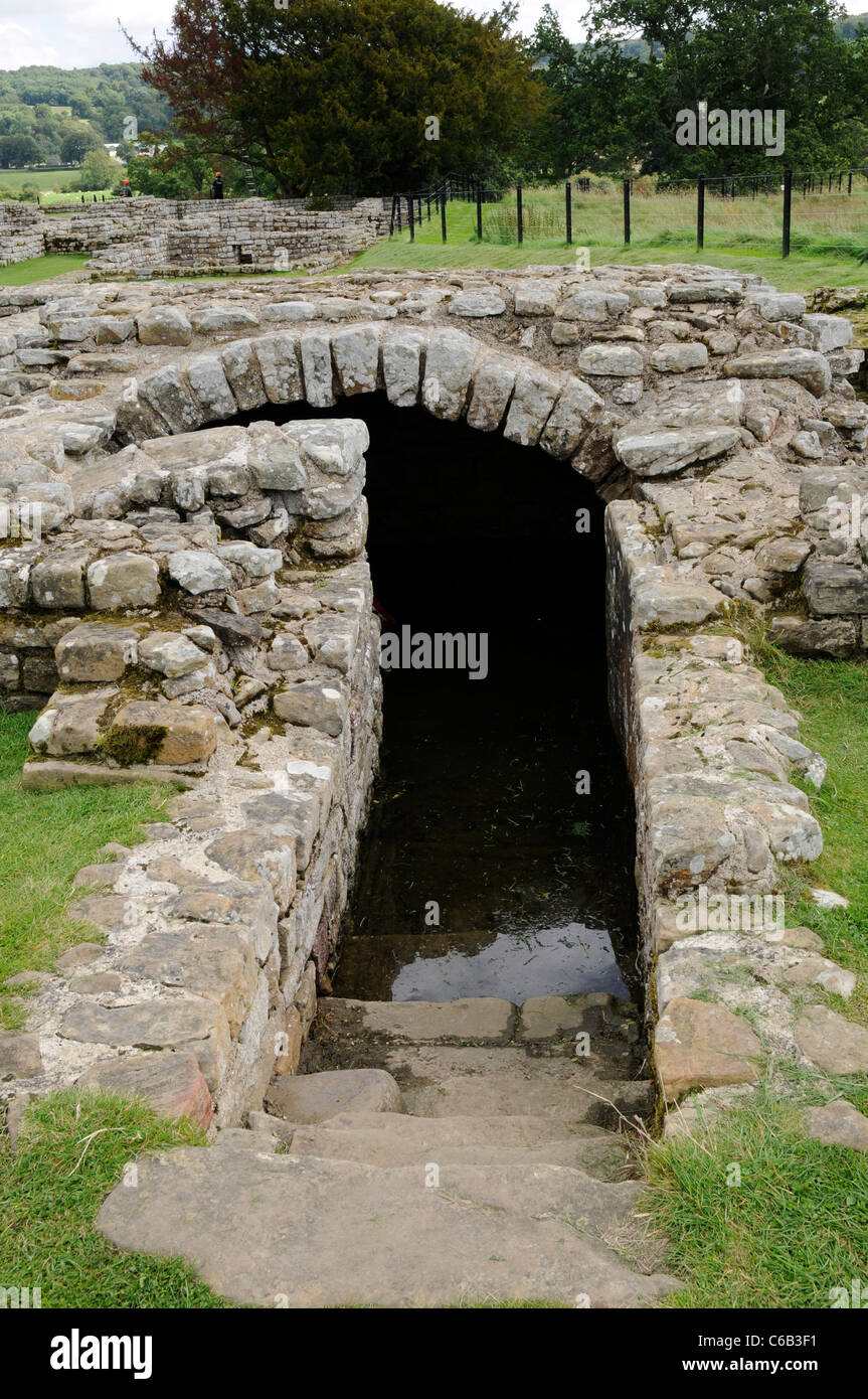 Underground Strongroom of the Principia, Roman ruins at Chesters Fort, on Hadrian's Wall, England. - Stock Image