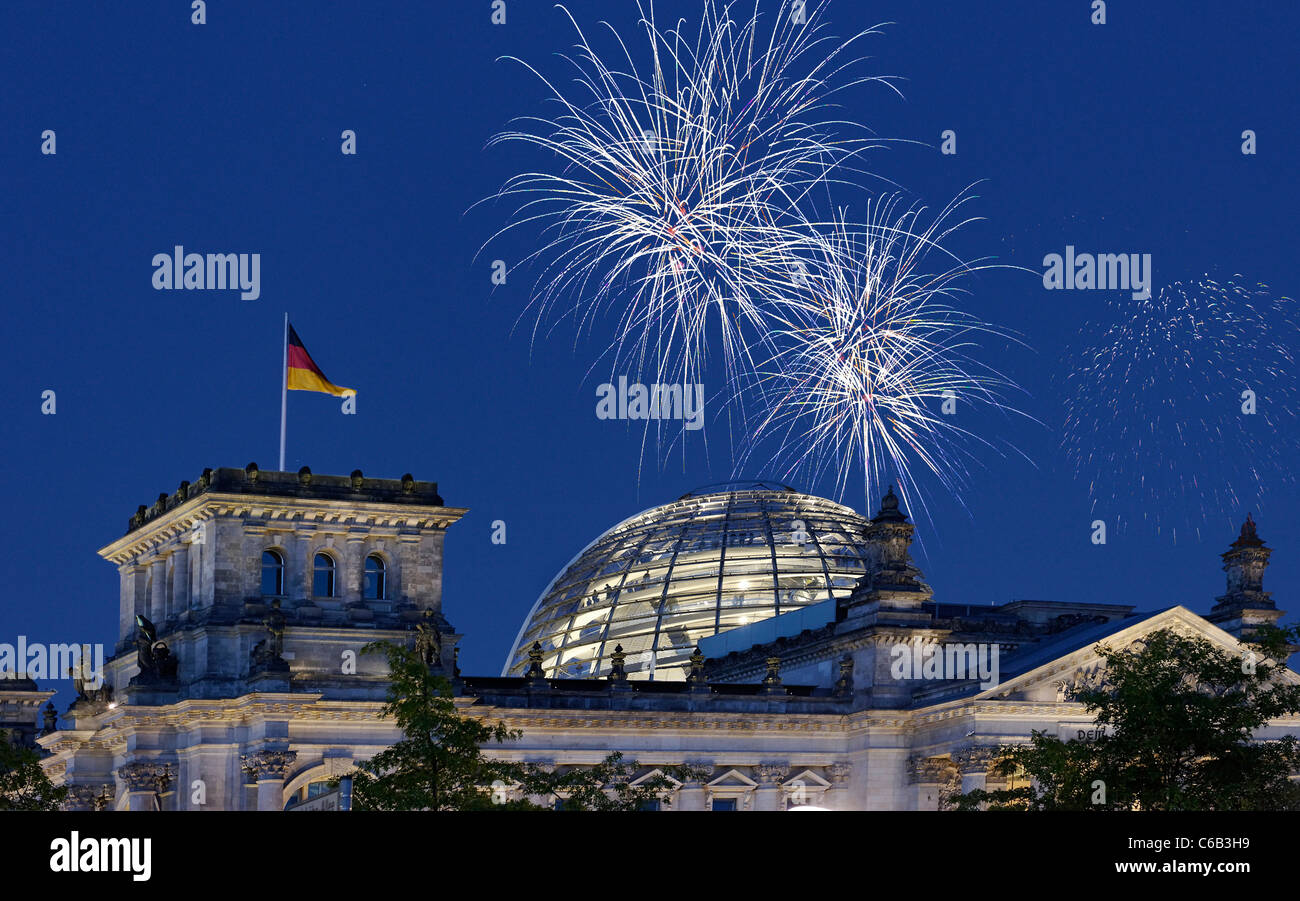 Fireworks over the Reichstag parliament, Berlin, Germany, Europe Stock Photo
