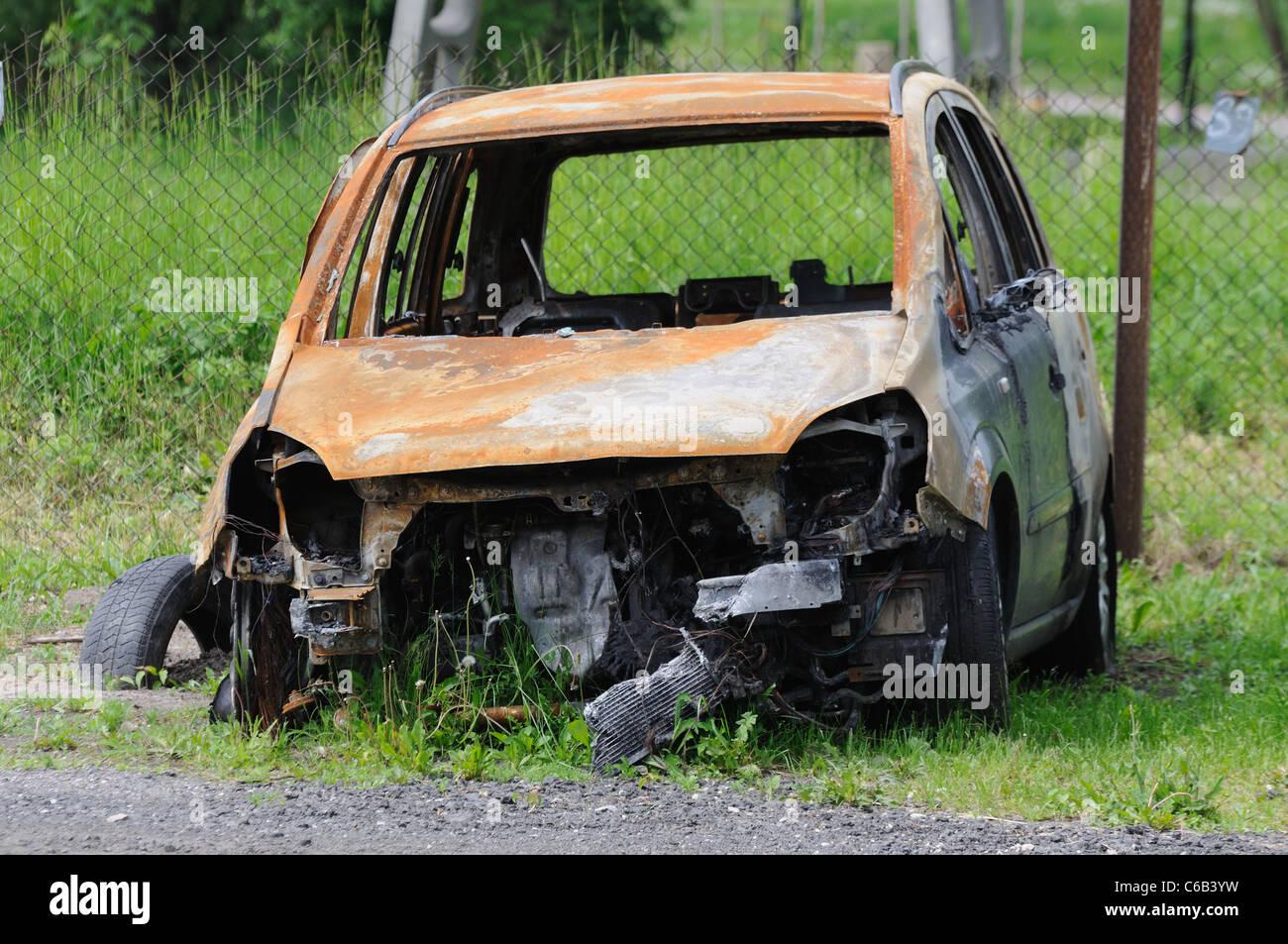 Burned Car - Stock Image