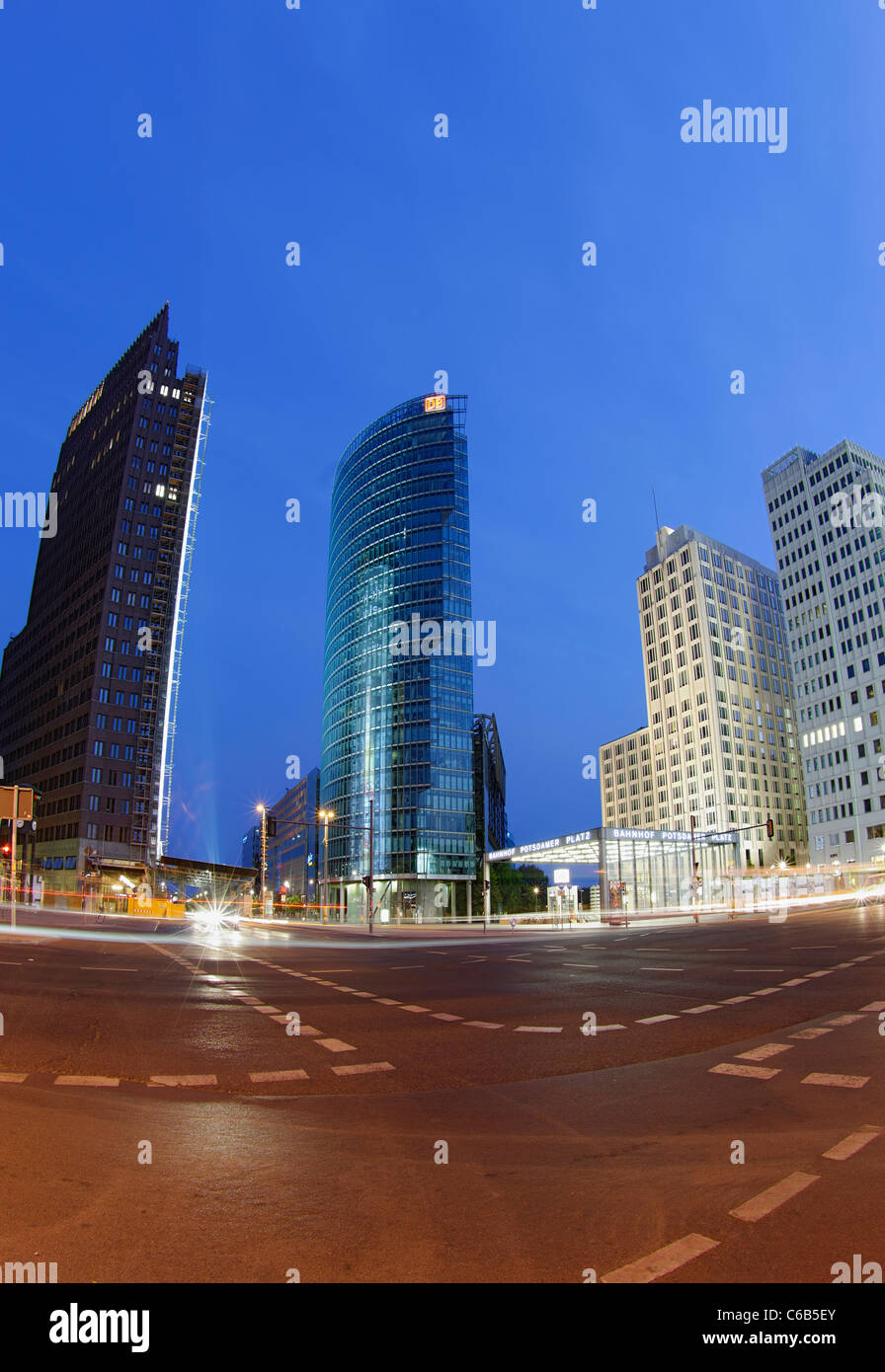 Potsdamer Platz square, in the early morning twilight, Mitte district, Berlin, Germany, Europe - Stock Image