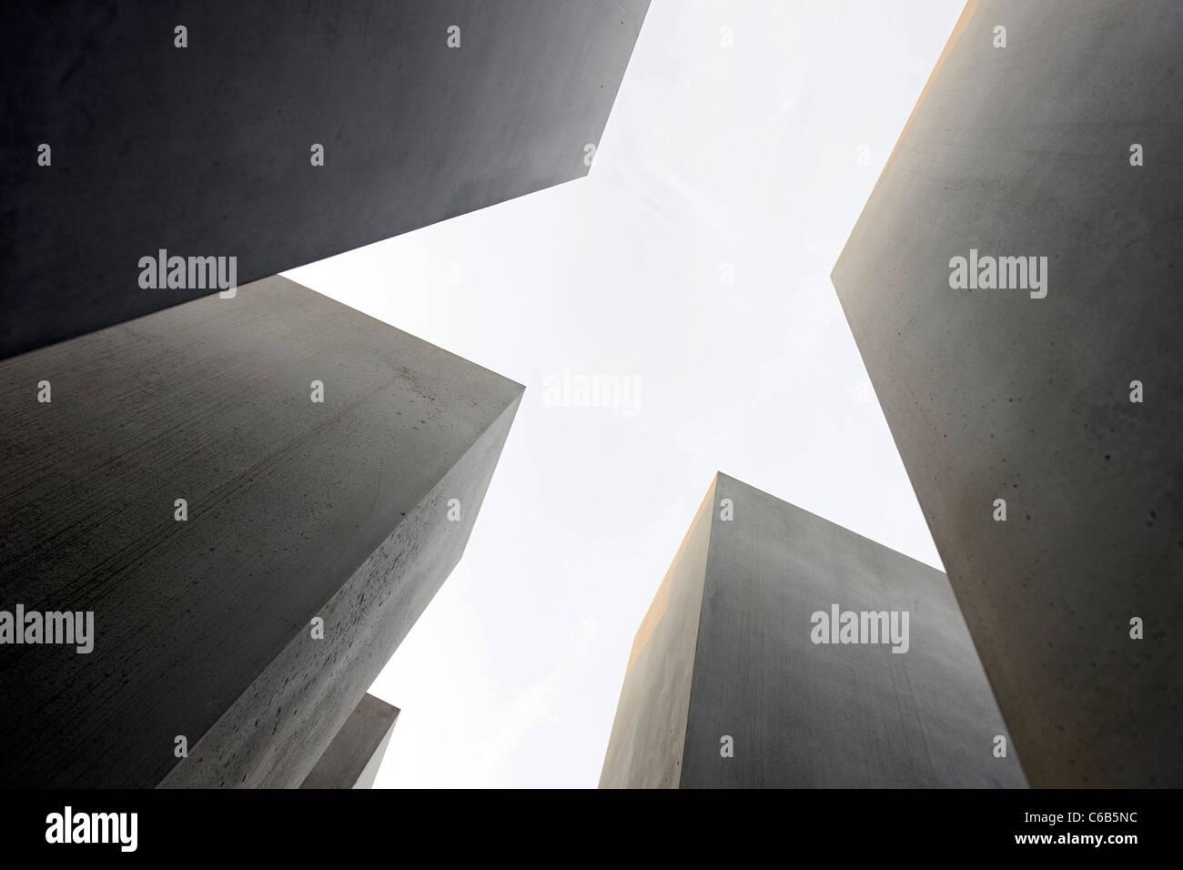 Concrete pillars of the Holocaust memorial, memorial, architect Peter Eisenman, Tiergarten, Mitte district, Berlin, Stock Photo