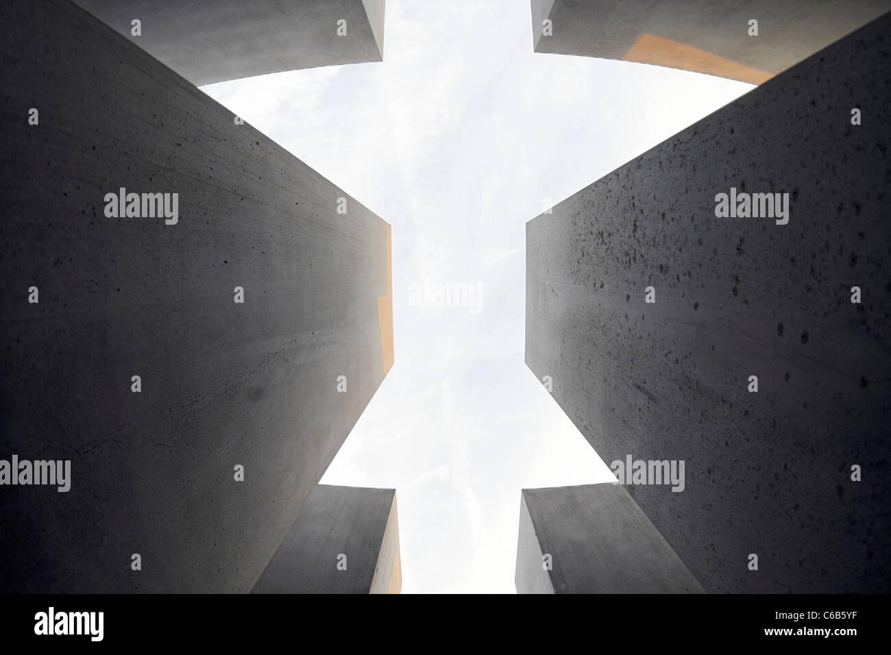 Concrete pillars of the Holocaust memorial, memorial, architect Peter Eisenman, Tiergarten, Mitte district, Berlin, - Stock Image