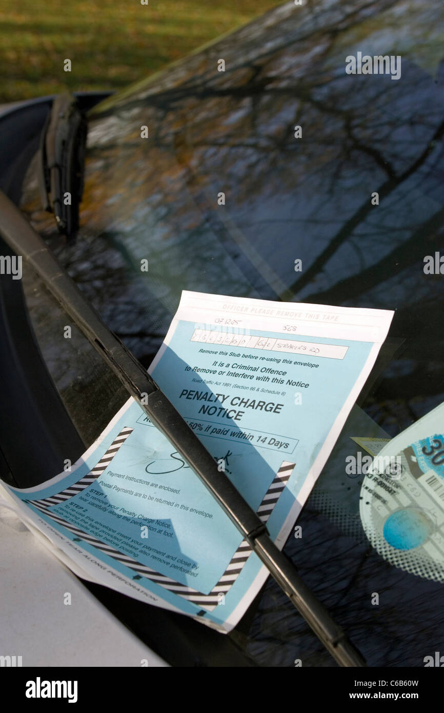 A penalty notice charge (Parking ticket) on a car windscreen. London. UK. - Stock Image