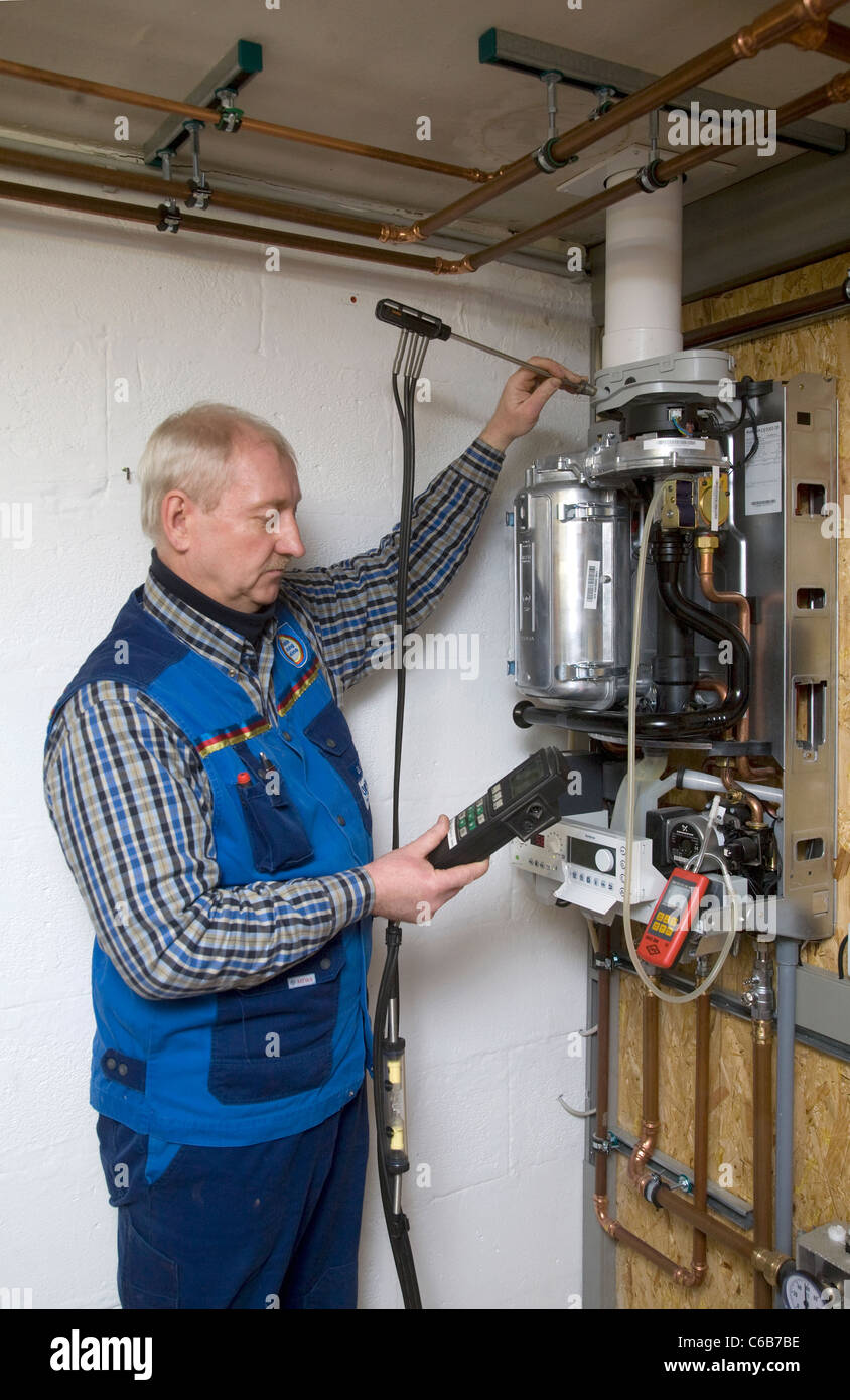 A central heating installation is being inspected, Viersen, Germany - Stock Image