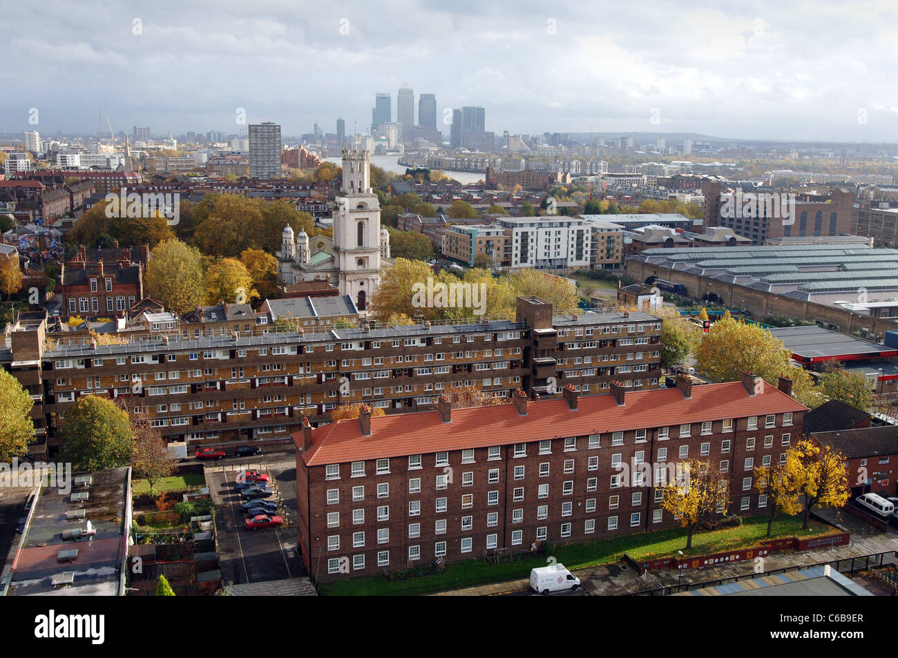 Ariel view of St Georges' Estate in the East End of London - Stock Image