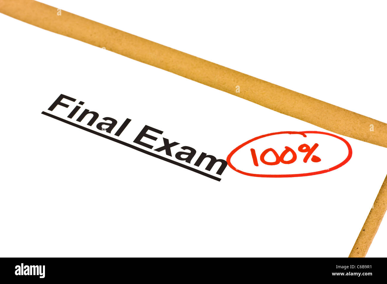 Final exam marked with 100% isolated on white. - Stock Image