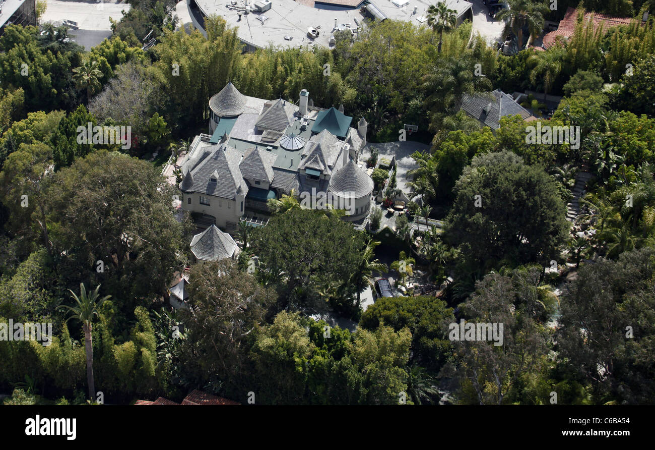 Aerial view of the house Johnny Depp lives in. West ...