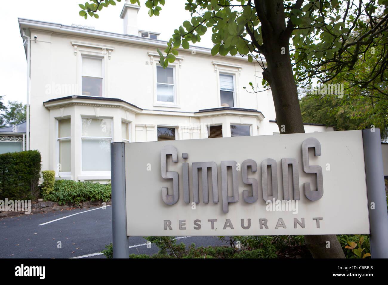 Simpsons restaurant, Edgbaston, Birmingham. Michellin starred restaurant. - Stock Image