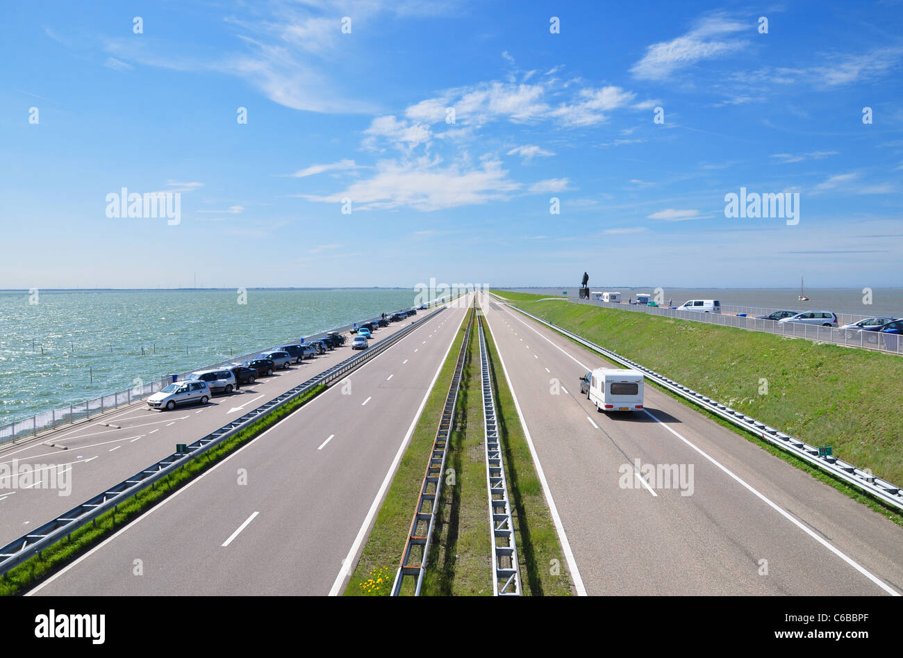 crossing the Afsluitdijk Stock Photo