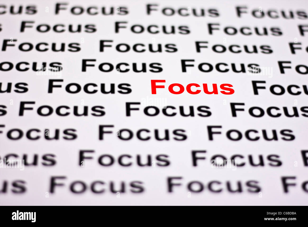 Focused on Focus highlighted in red - Stock Image