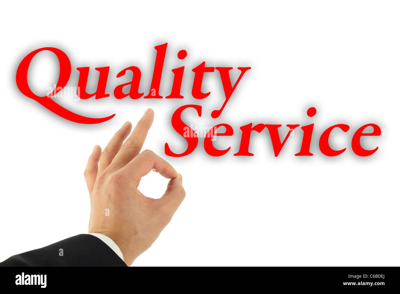 Quality service concept with hand okay sign isolated on white - Stock Image