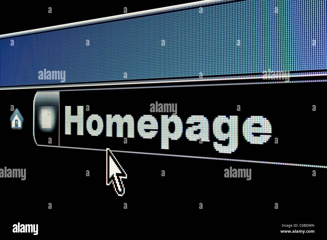 Homepage concept on an internet browser URL address - Stock Image