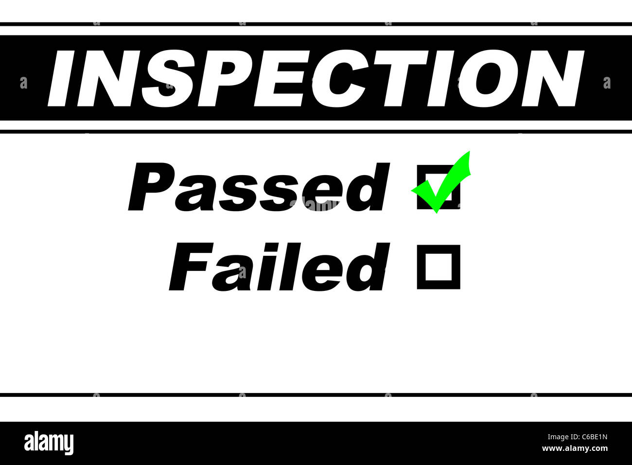 Inspection report results filled out with Passed chosen isolated on white - Stock Image