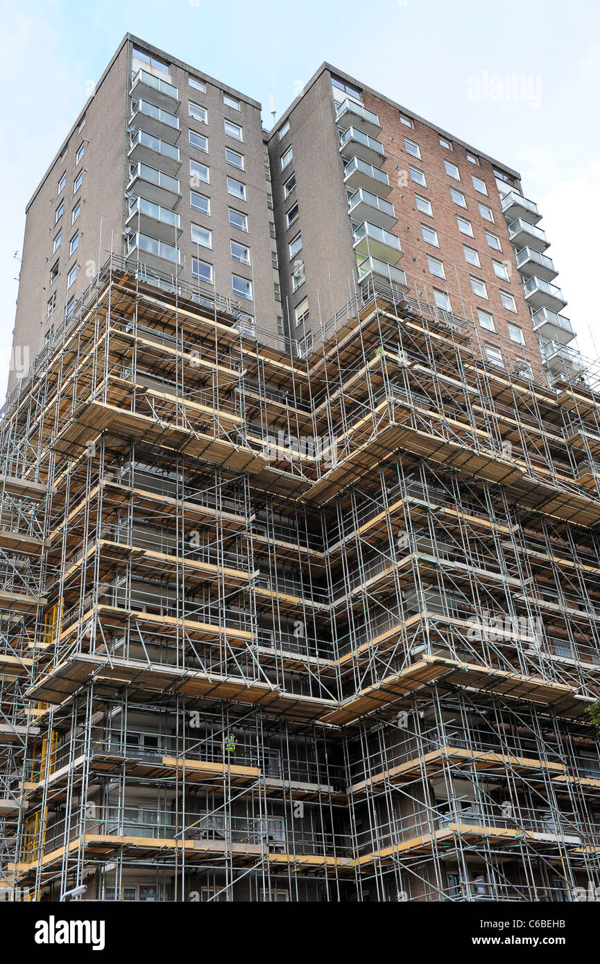 Scaffolding on high rise flats in Wednesfield West Midlands England Uk - Stock Image