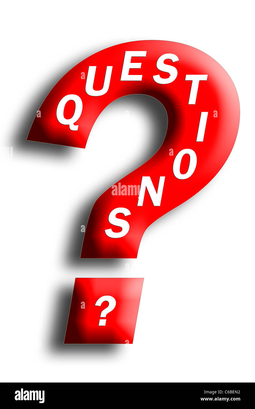Questions concept embedded in a question mark isolated on white - Stock Image