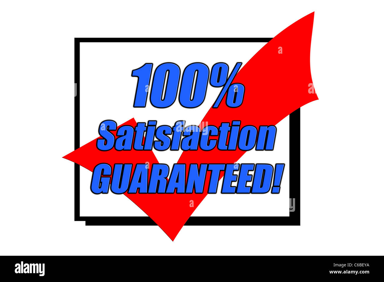 100% Satisfaction Guaranteed concept isolated on white - Stock Image