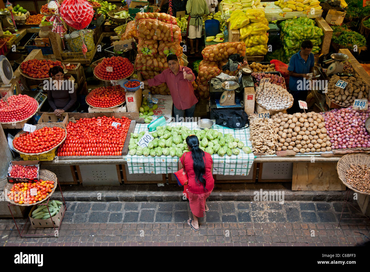 Fruit and Vegetable Market Stall in Central Market, Port Louis, Mauritius - Stock Image