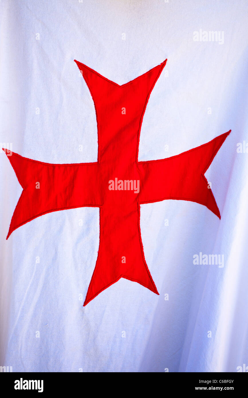 Red knights Templar cross on a white background, France - Stock Image