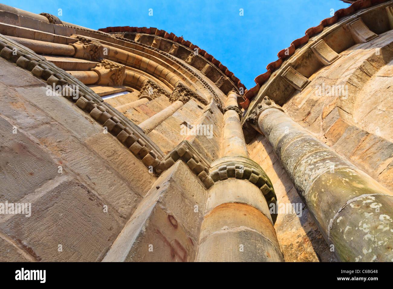 Details of the facade of Church of the Colegiata, Santillana del Mar, Spain - Stock Image