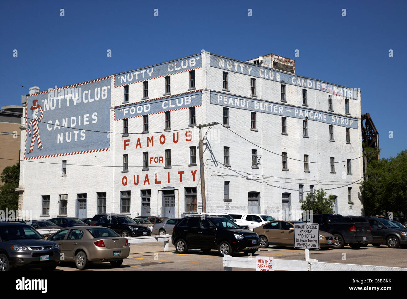 nutty club warehouse scott bathgate ltd building downtown winnipeg manitoba canada 149 pioneer ave - Stock Image