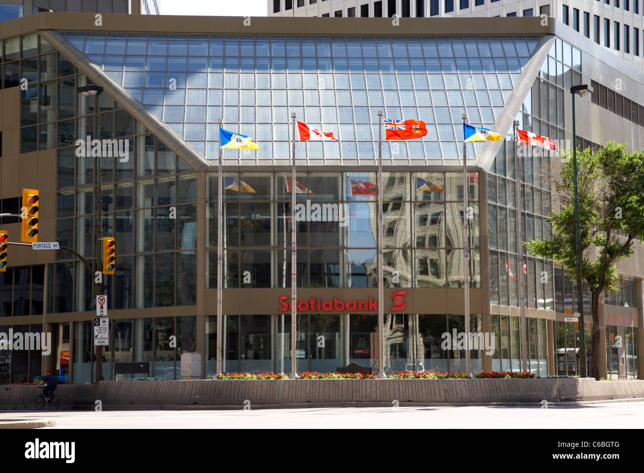 scotiabank building entance on portage and main downtown winnipeg manitoba canada - Stock Image