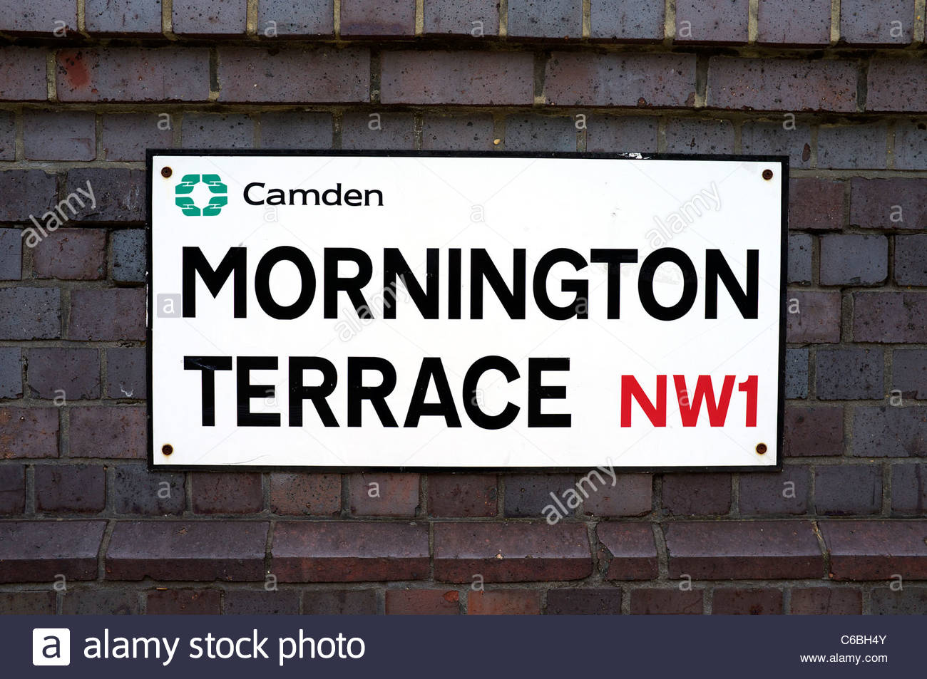 Street name sign for Mornington Terrace, Camden Town, north west London NW1, UK. - Stock Image