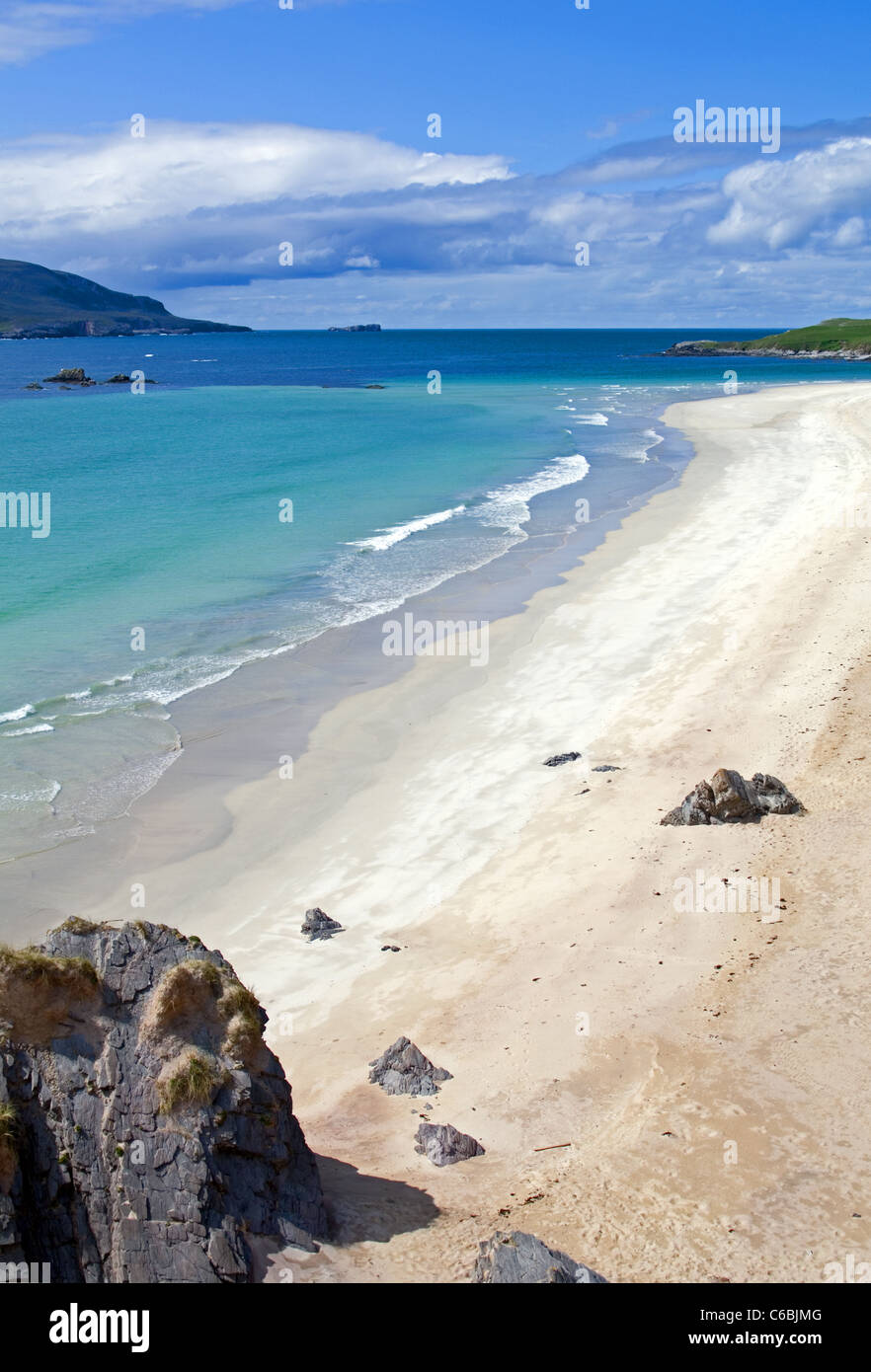 Balnakeil Bay, Durness, on the North Coast 500 route, Sutherland, Cape Wrath peninsula on left, Faraid Head to the Stock Photo