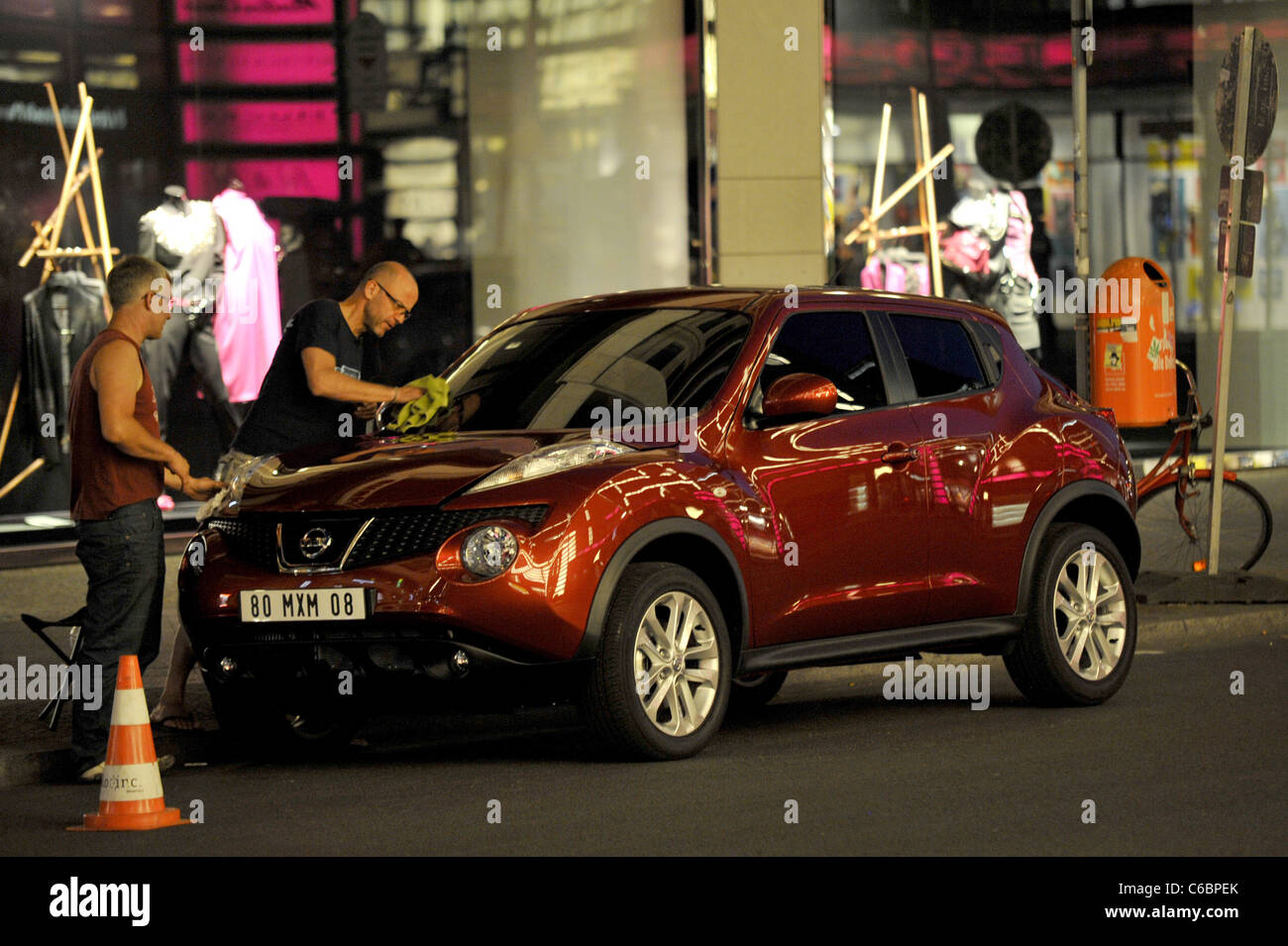 Atmosphere On The Set Of A Car Commercial For The New Nissan Juke At  Friedrichstrasse Street. The Mini SUV Carries A Foreign