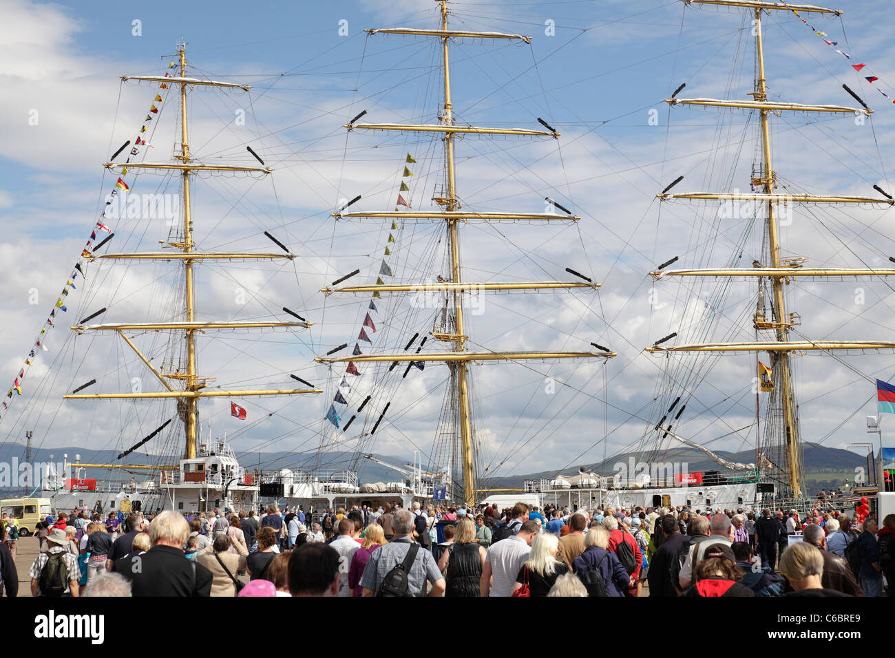 Spectators at the Tall Ships Race 2011 in Greenock, Scotland, UK - Stock Image