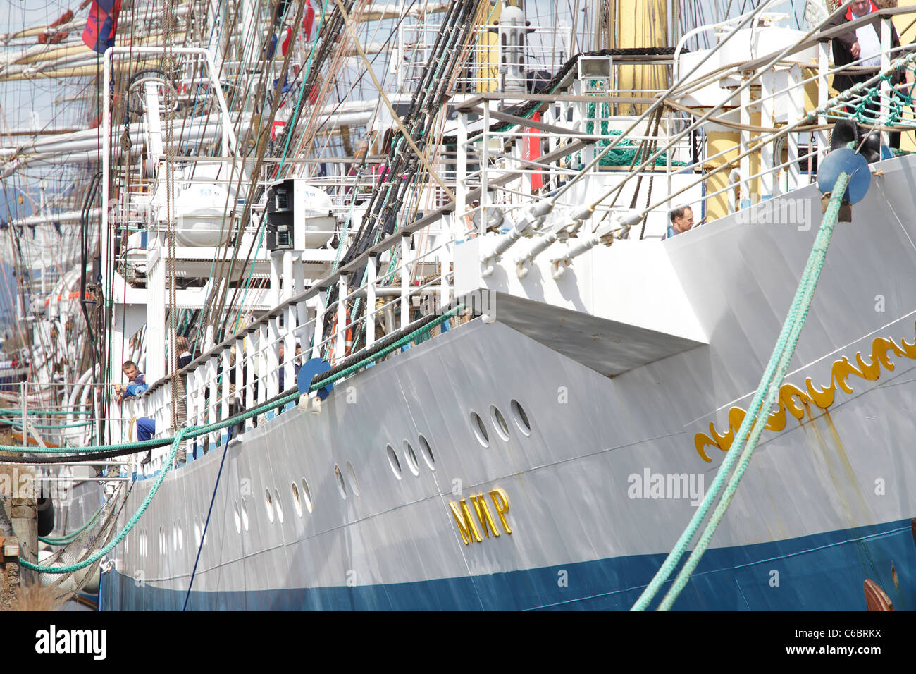 A ship berthed at the Tall Ships Race 2011 in Greenock, Scotland, UK - Stock Image