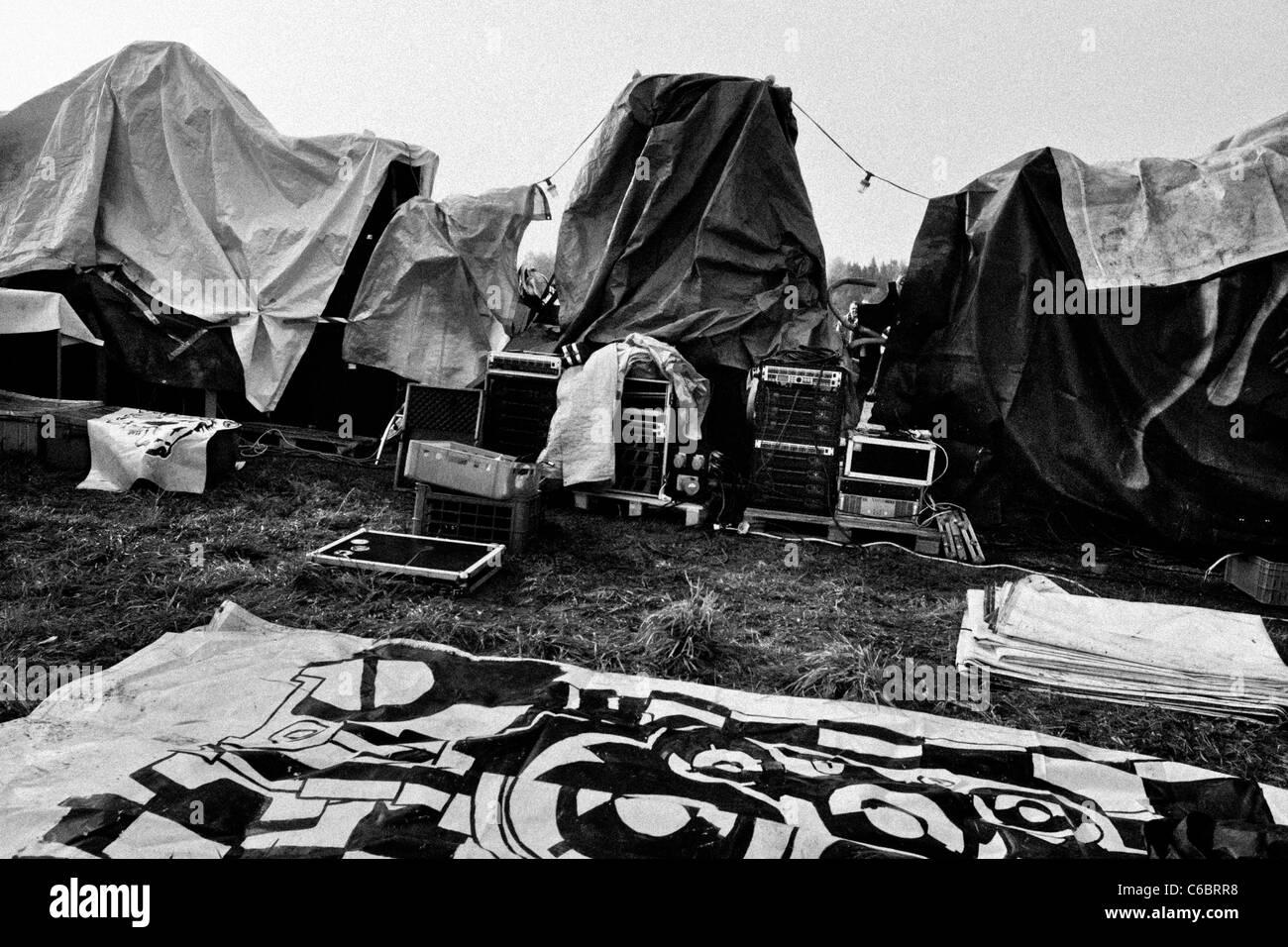 "The Sound System speakers covered by sheets at Czech Free Tekno Festival ""Czarotek"" close to Květná, Czech Republic. Stock Photo"