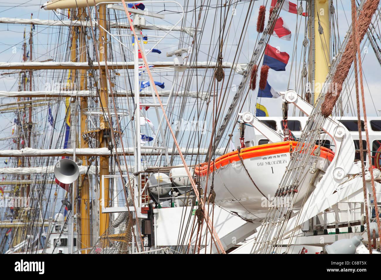Ships berthed at the Tall Ships Race 2011 in Greenock, Scotland, UK - Stock Image