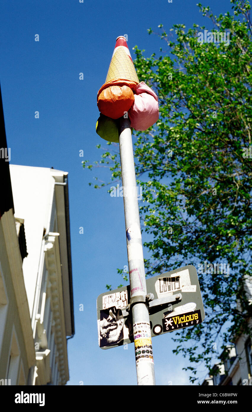 Someone's practical joke with a traffic signpost in Sankt Pauli district of Hamburg. - Stock Image