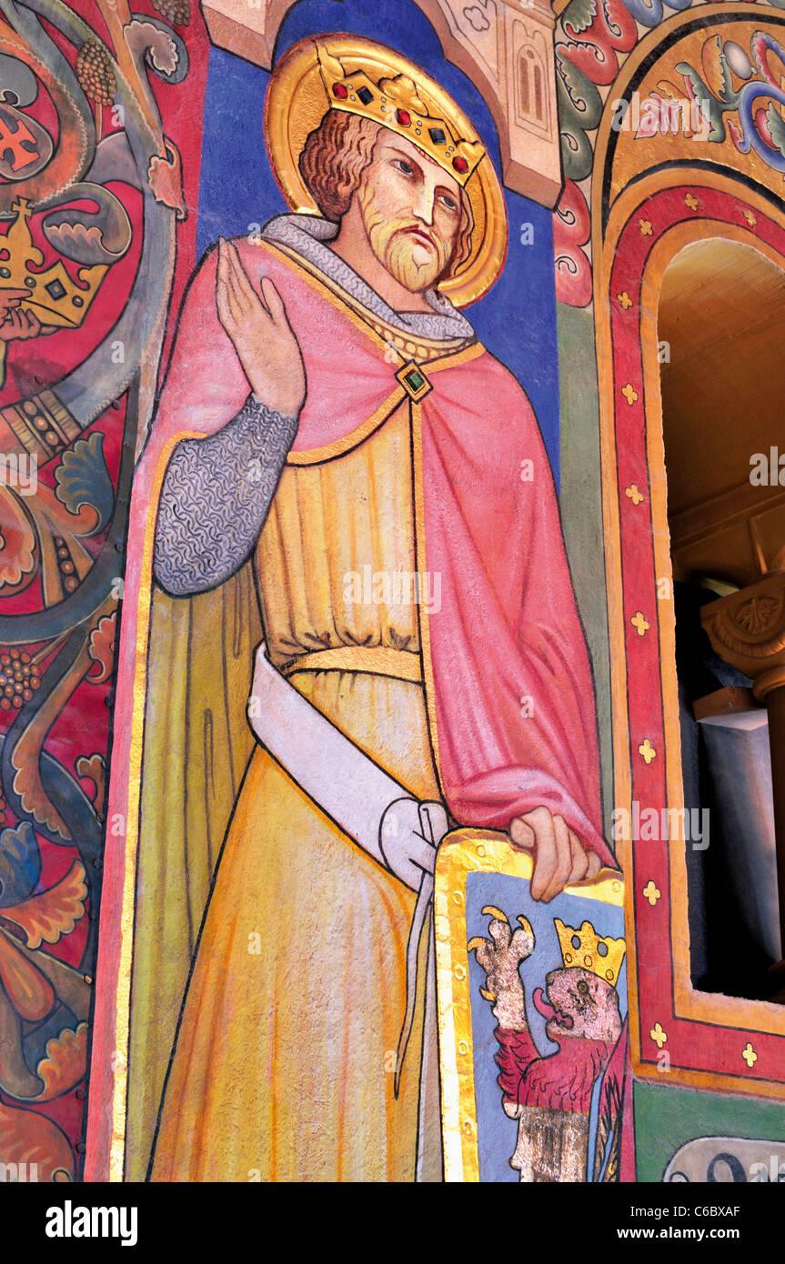 Germany, Eisenach: Wall painting showing  landgrave Ludwig II. at the festivity hall of Wartburg  castle - Stock Image