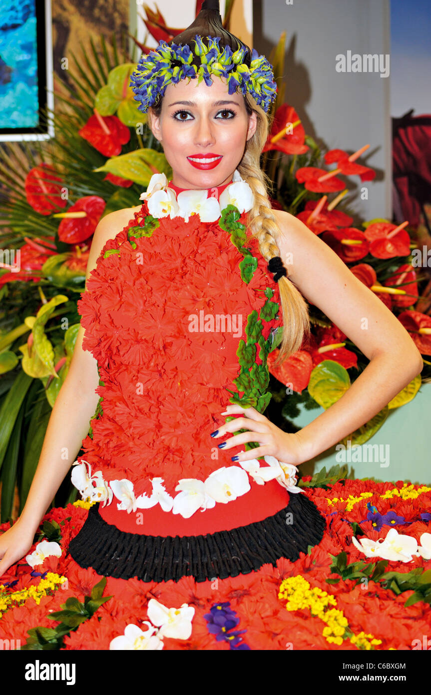 Portugal, Lisbon: Flower girl at the stand of Madeira Island during the International Tourism Fair BTL 2011 - Stock Image
