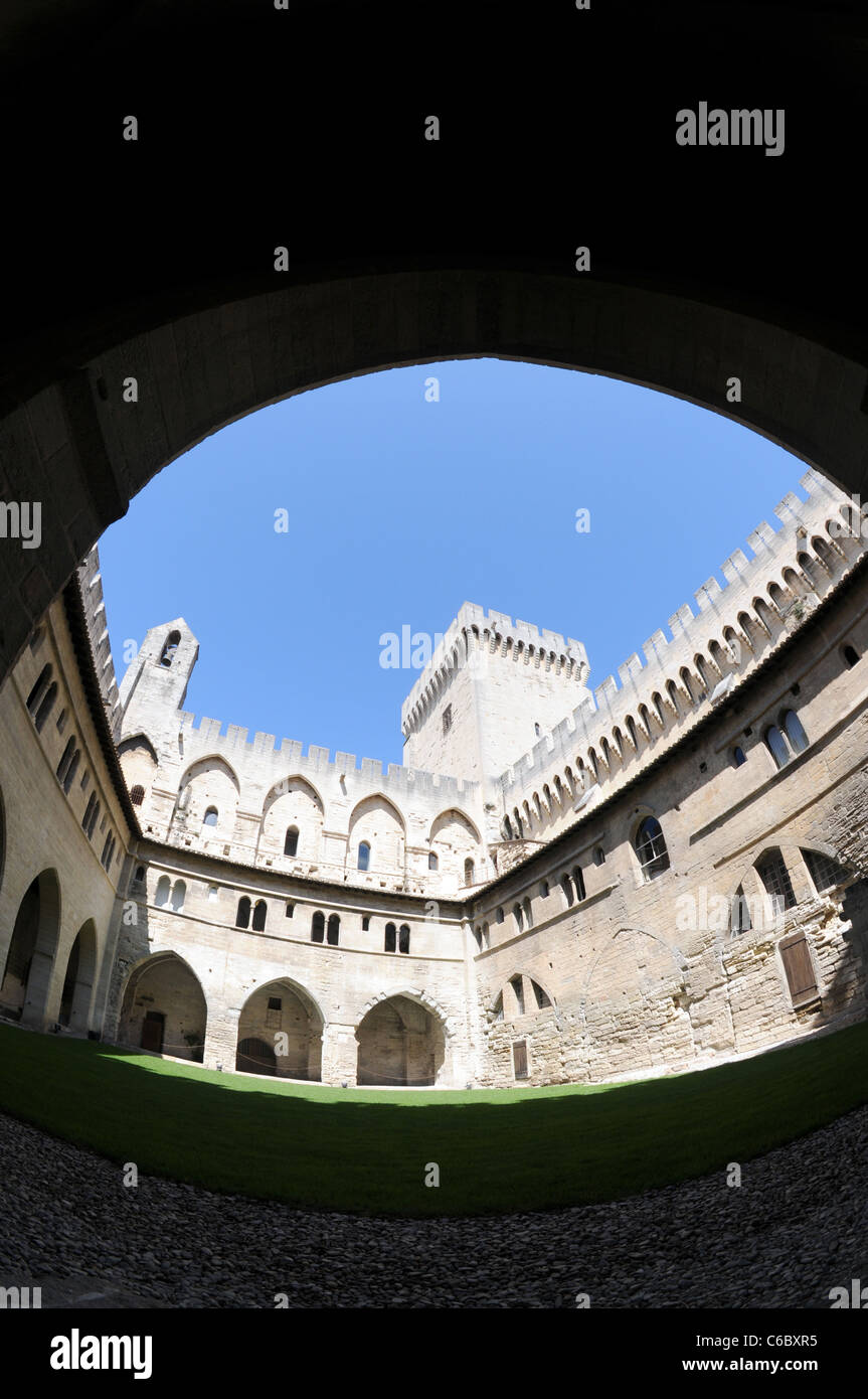 Courtyard of gothic style Palais des Papes (Papal Palace or Palace of the Popes) in Avignon city, Provence region - Stock Image
