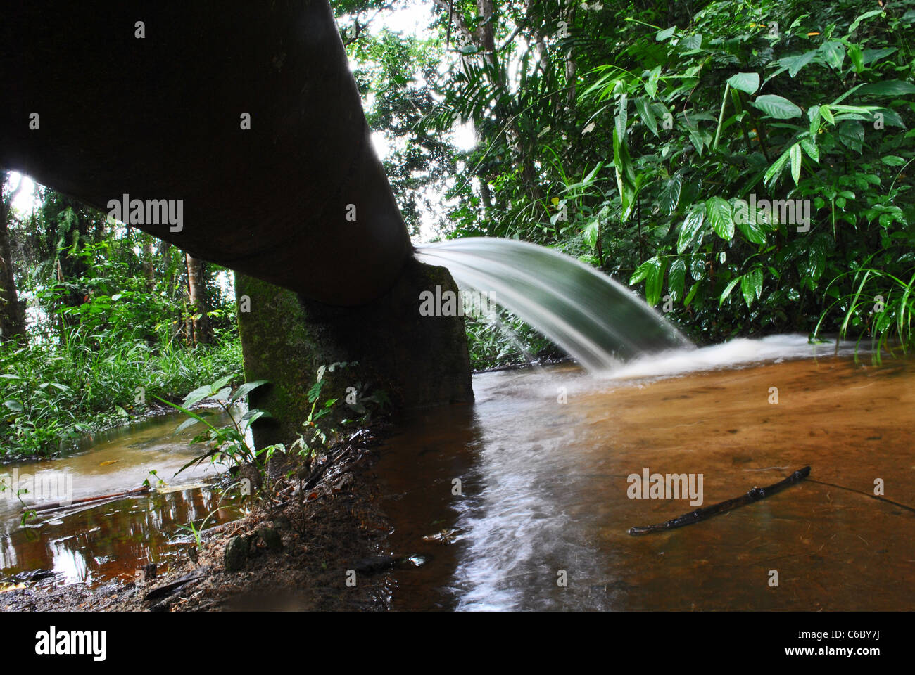 Leaking water pipe in the forest near Gbarnga, Liberia - Stock Image