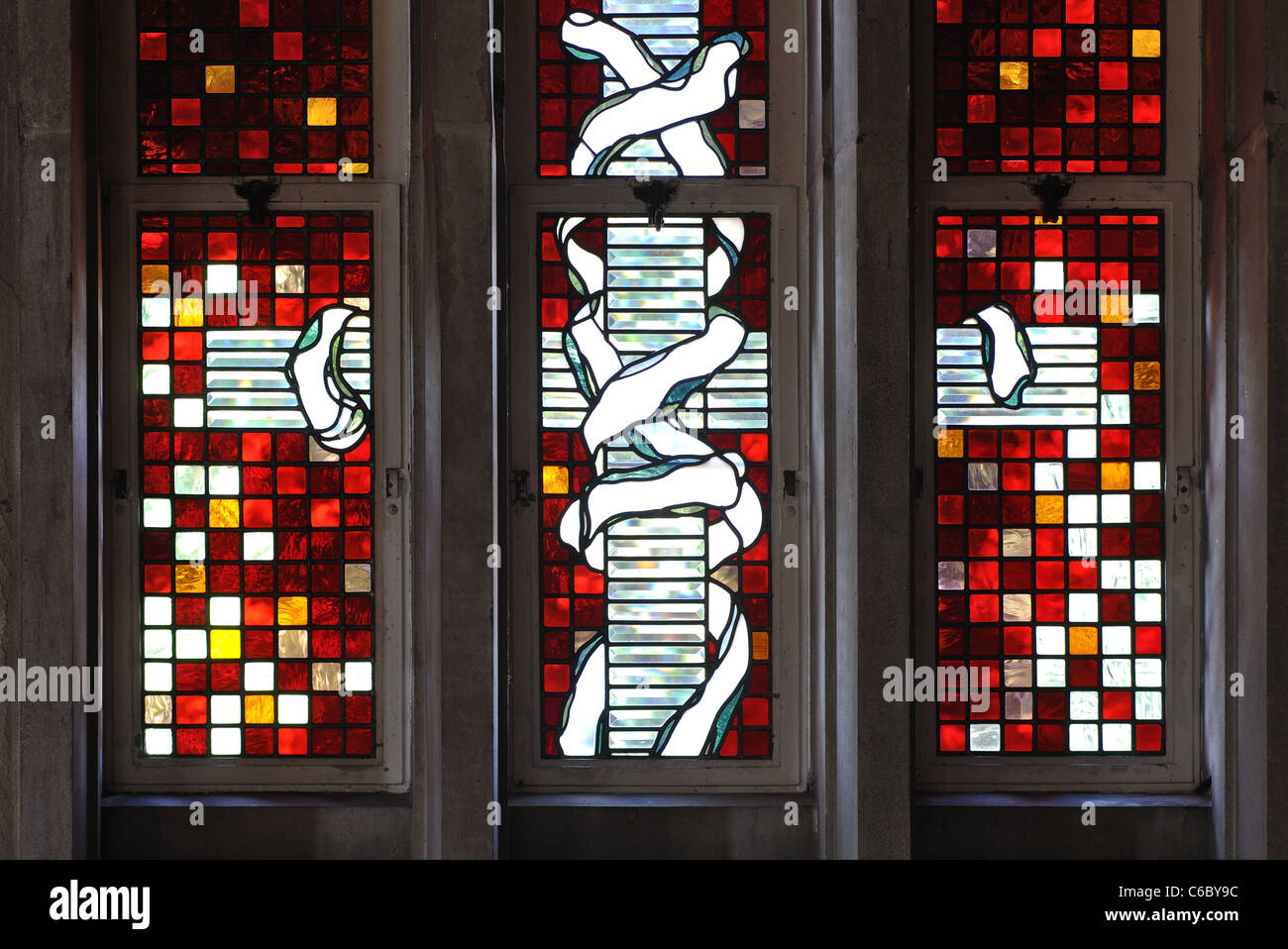 Stained glass in modern extension of St. James the Great Church, Birstall, Leicestershire, England, UK - Stock Image