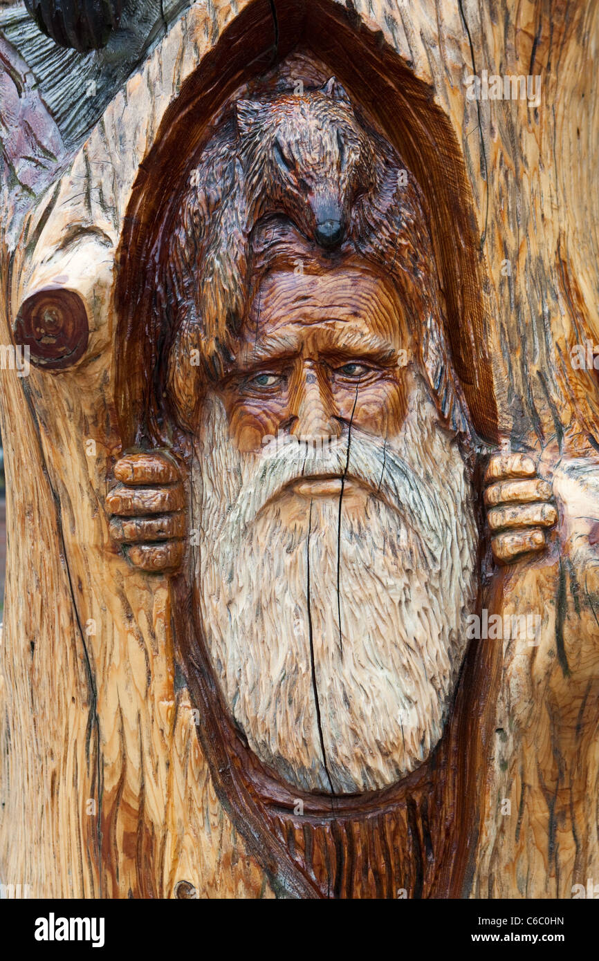 Old Prospector Chainsaw Wood Carving in Hope Canada - Stock Image