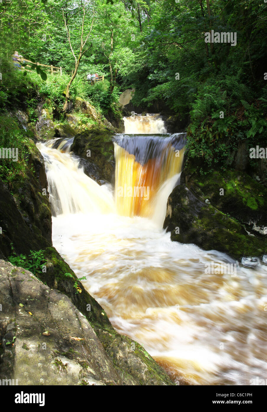 The Pecca Twin Falls on the Ingleton Waterfalls Trail, Ingleton, North Yorkshire, Yorkshire Dales National Park - Stock Image
