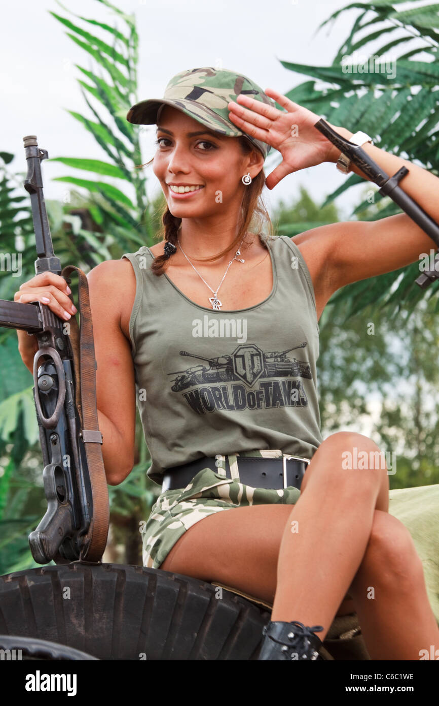 Armed Model at War Reenactment - Stock Image