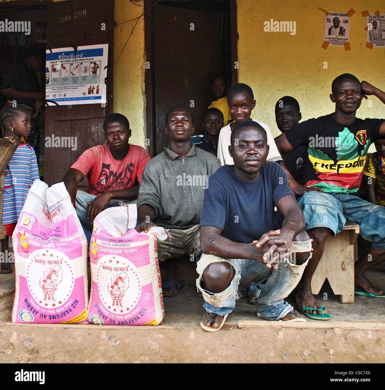 Imported 'Uncle Sam's Rice' in Zorzor, Liberia - Stock Image