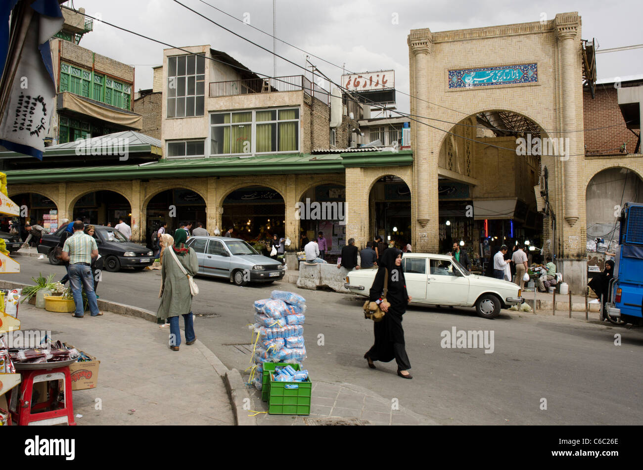 Newly renovated entrance of the historic Tajrish bazaar in north of Tehran, Iran - Stock Image
