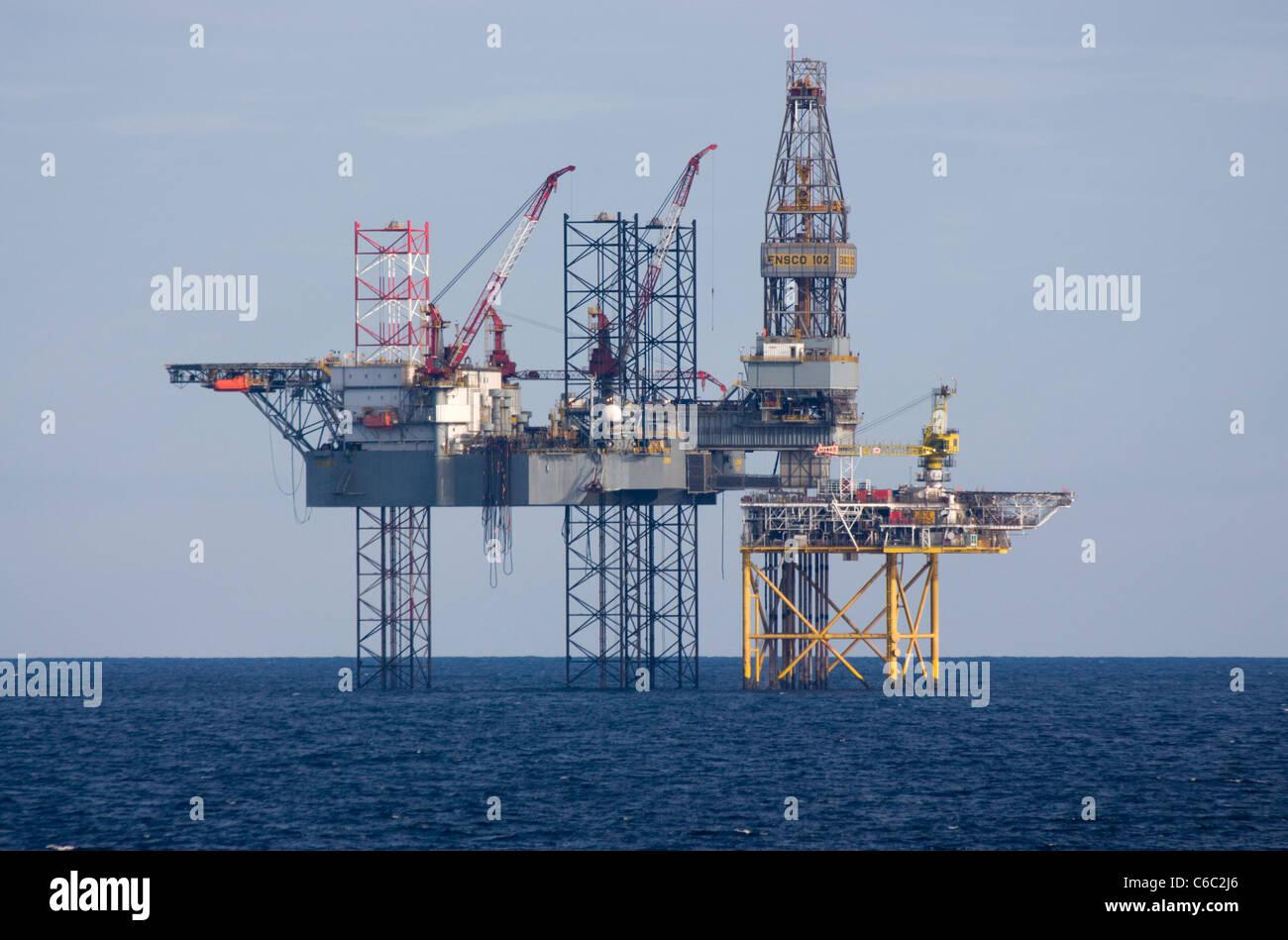 Oil rig  Ensco 102 jackup driling rig North Sea Stock Photo