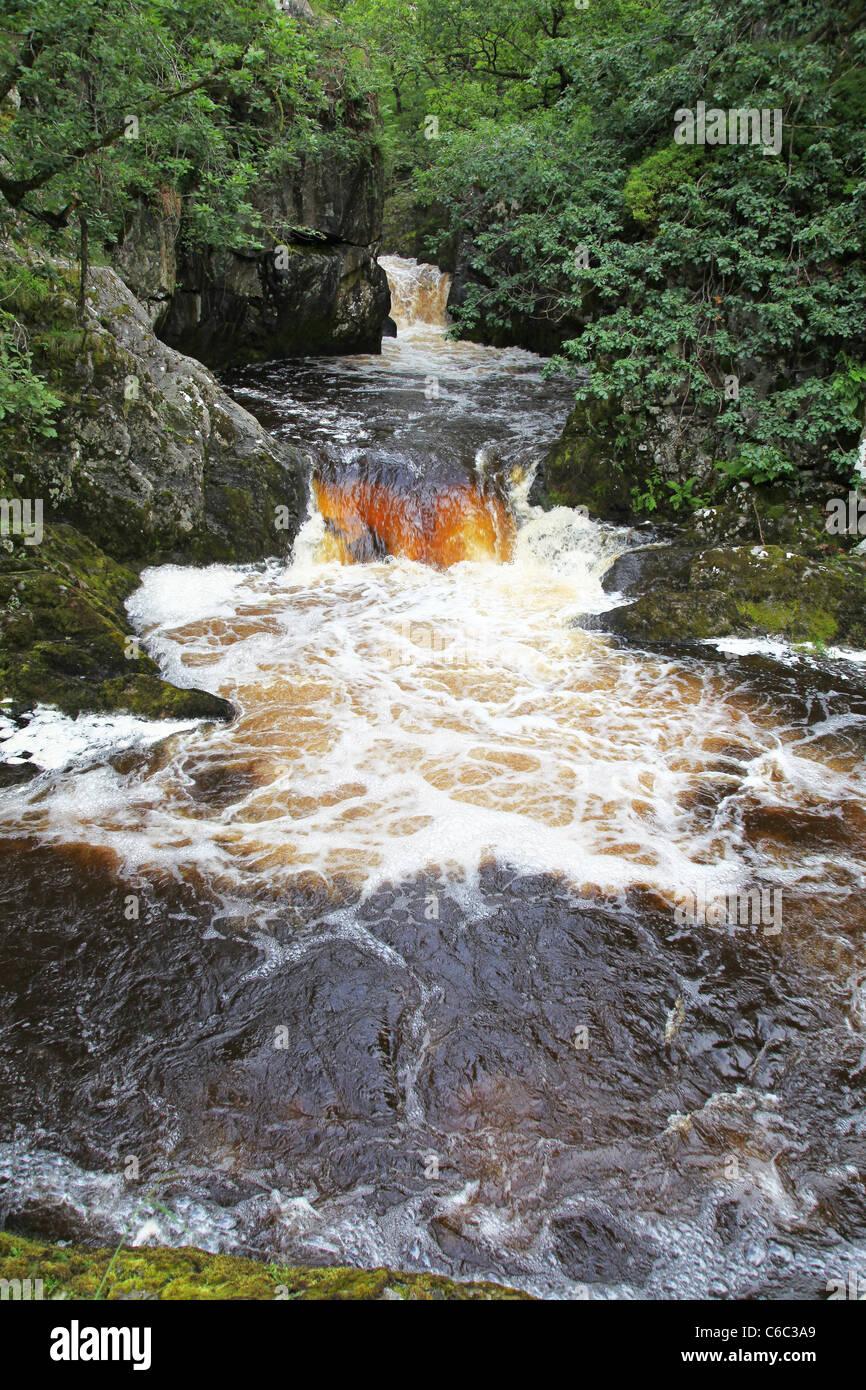Rival Falls waterfall on the Ingleton Waterfalls Trail, Ingleton, North Yorkshire, Yorkshire Dales National Park - Stock Image