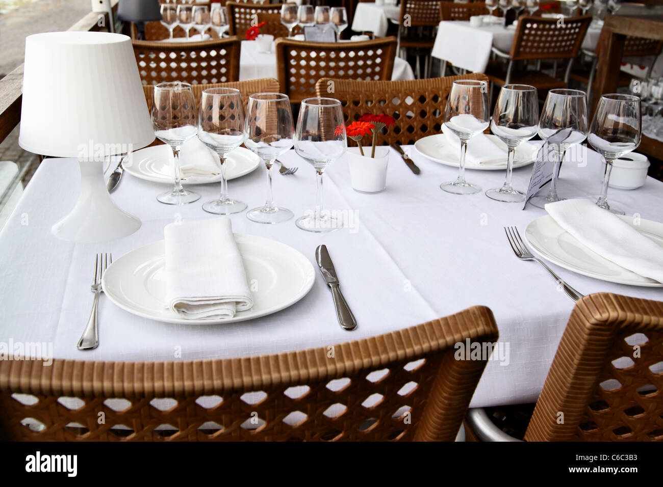 Table appointments at a restaurant close-up - Stock Image