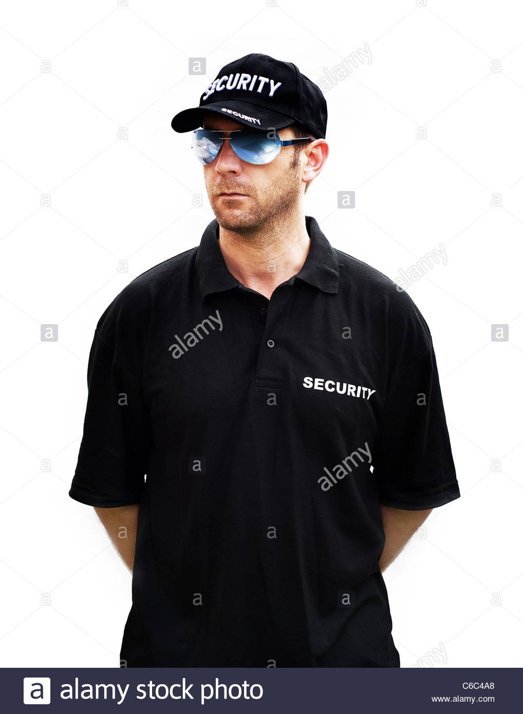 security guard white background - Stock Image