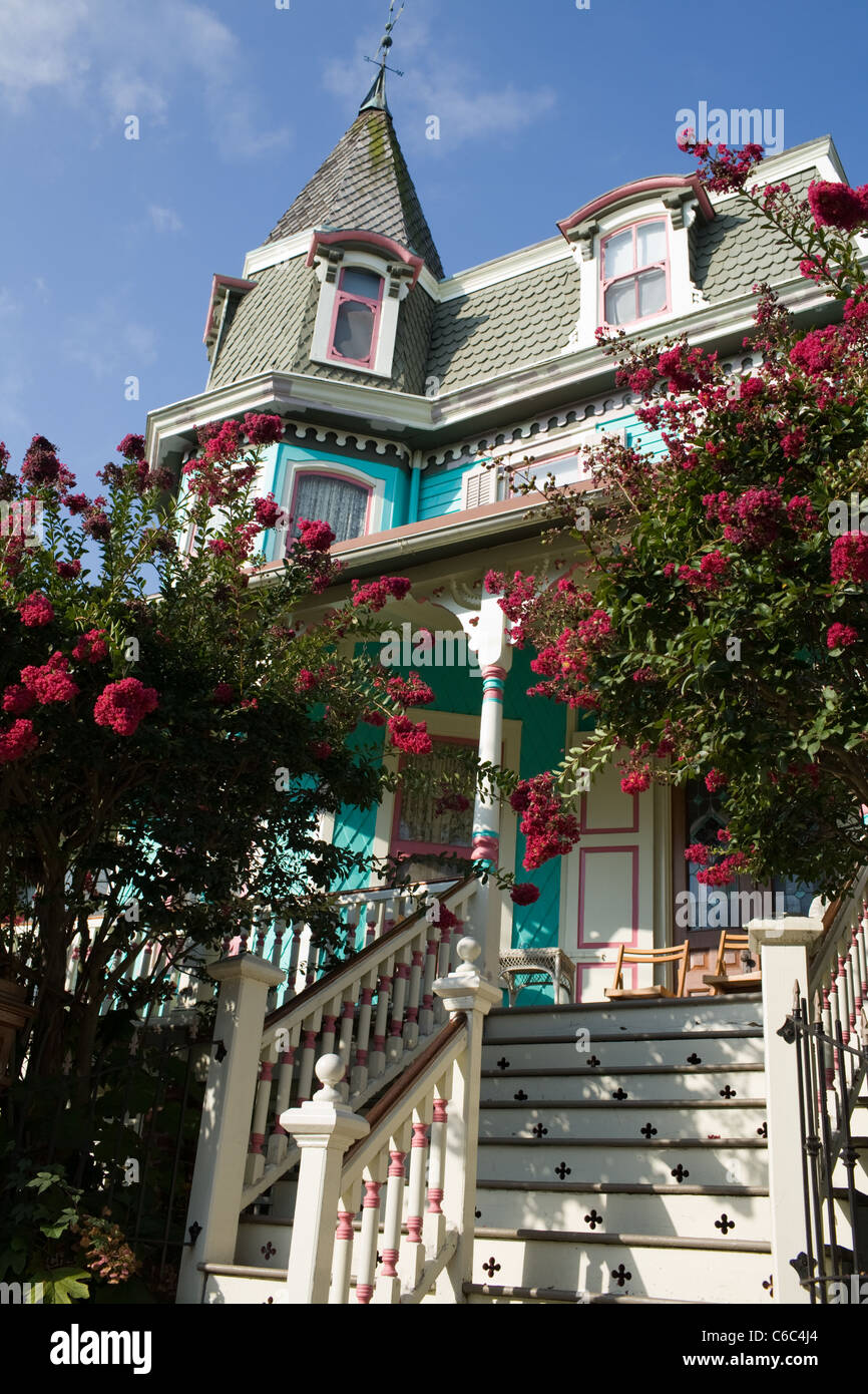Victorian gingerbread architecture in Cape May, New Jersey, a National Historic Landmark - Stock Image