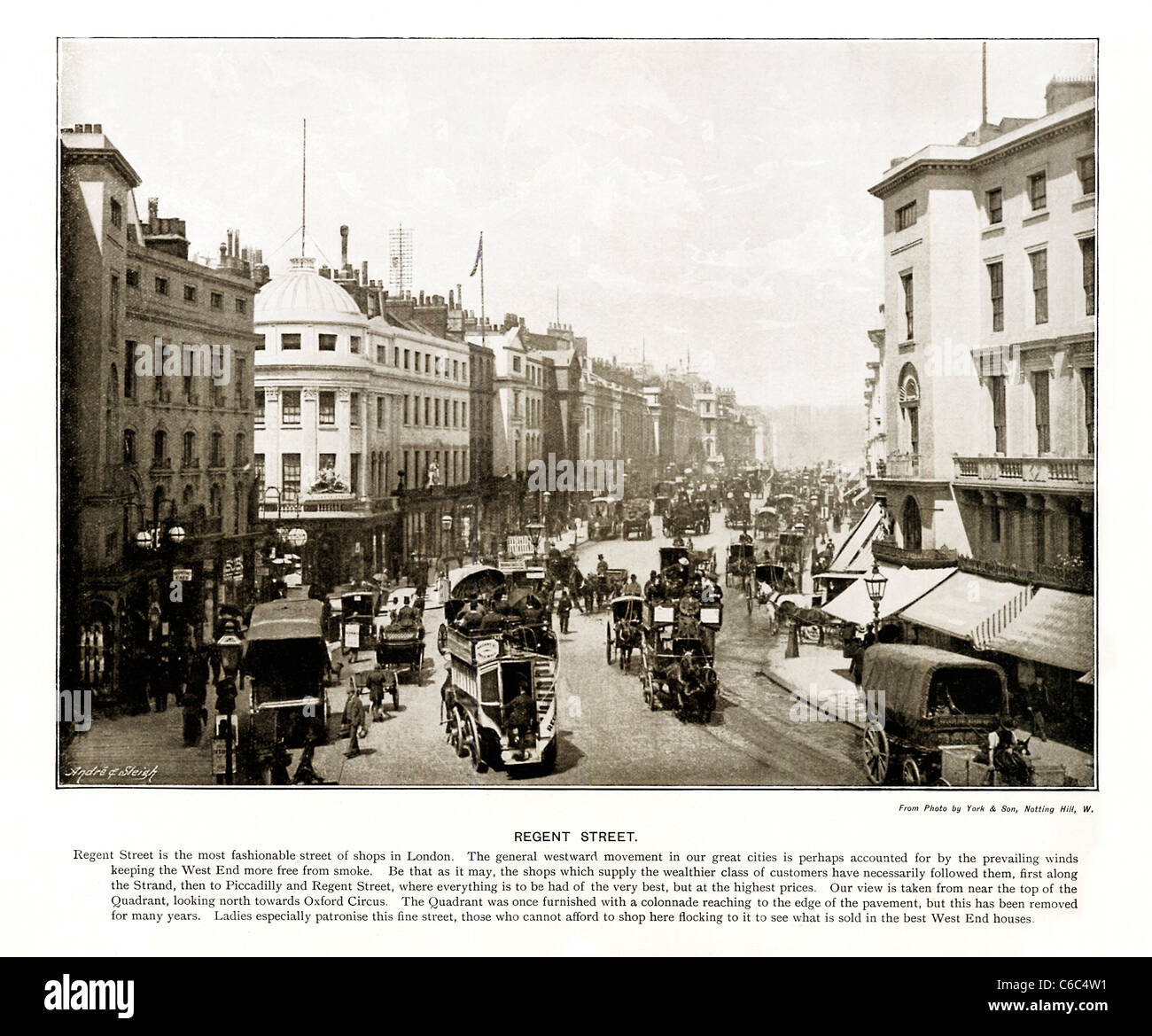 Regent Street, London, 1897 Victorian photo of the West End street built by Nash, looking north from the Quadrant - Stock Image