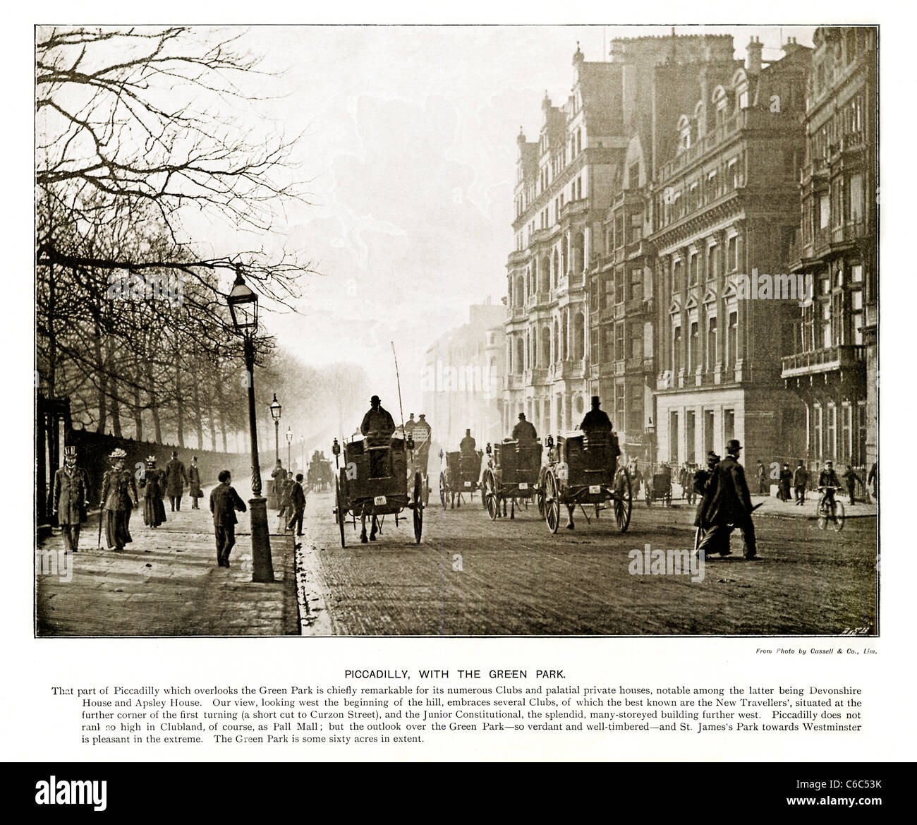 Piccadilly and Green Park London, 1897 Victorian photograph looking West down the street towards Hyde Park Corner - Stock Image
